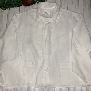 FLAX by Jeanne Engelhart Women's L Ivory Button
